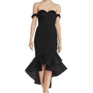 BARIANO WOMEN'S BLACK OFF-THE-SHOULDER SWEETHEART